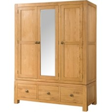 Avon Triple Wardrobe With 3 Drawers And mirror
