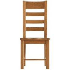 Hampshire Ladder Back Oiled Oak Chair Wooden Pad
