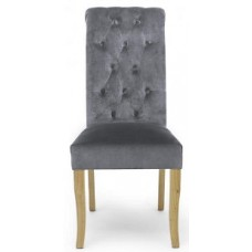 Bronte Brushed Grey Velvet Dining Chair